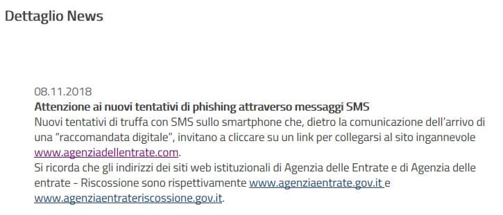 sms phishing agenzia delle entrate